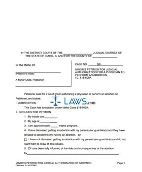 Minor's Petition for Judicial Authorization for an Abortion - AbM 1-1