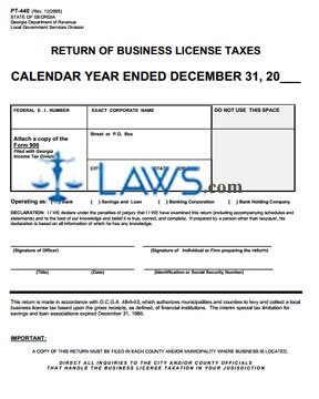 Form PT-440 Return of Business License Taxes - Georgia Forms - | Laws ...