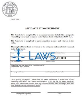 Form CR-AFF Affidavit By Non-Resident