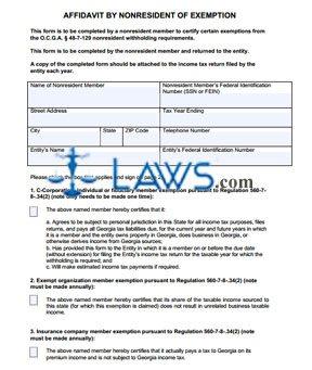 Form NRW-Exemption Affidavit by Nonresident of Exemption