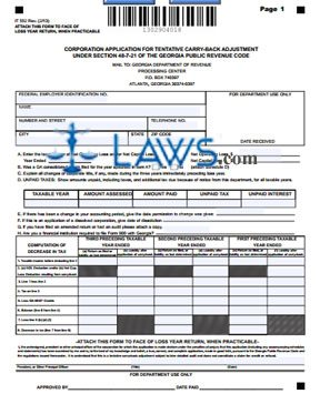Form IT-552 Corporation Application for Tentative Carry-Back Adjustment