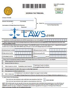 Form GTT-1 Georgia Tax Tribunal Petition