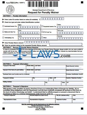 Form TSD-3 Request for Penalty Waiver