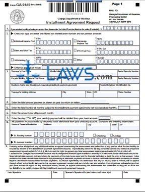 Form GA-9465 Installment Agreement Request Form