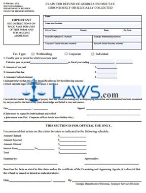 Form IT-550 Claim for Refund of Georgia Income Tax Erroneously or Illegally Collected