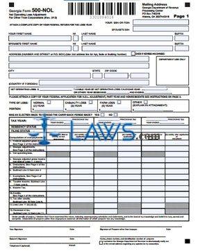 Form 500-NOL Net Operating Loss Asjustment