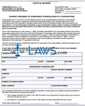 Form 600S-CA S Corporation Consent Agreement of Non-resident Stockholders