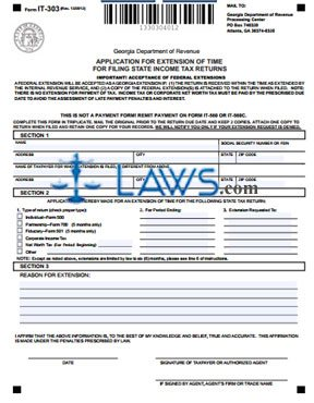 Form IT 303 Application For Extension Of Time For Filing State Income Tax  Returns