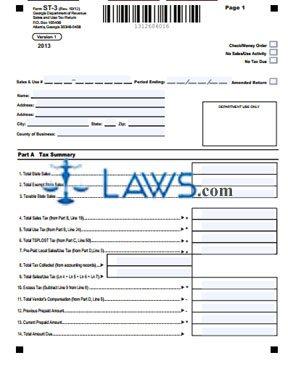 Form ST-3-Sales and Use Tax Return - Sales Tax Forms - | Laws.com