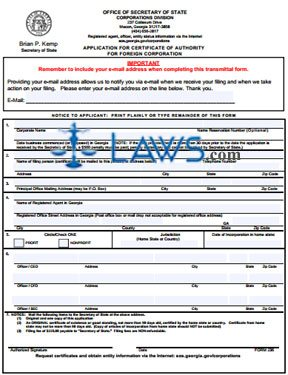 Form GA 236 Application for Certificate of Authority for a Corporation