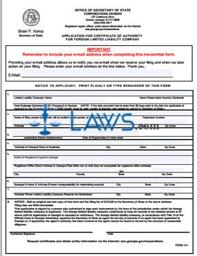 Form GA 241 Application for Certificate of Authority for an LLC