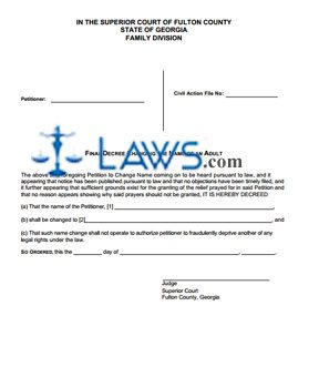 Form GA Final Decree for Adult Name Change - Fulton County