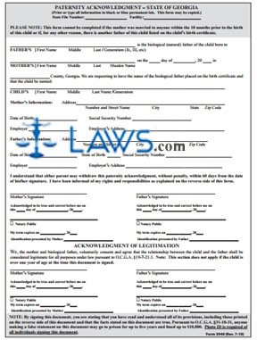 Form Paternity Acknowledgment - Georgia Forms - | Laws.com