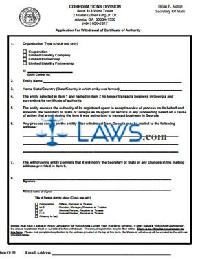Form CD 555 Application For Withdrawal of Certificate of Authority