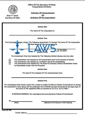 Form CD Articles Of Amendment Of Articles Of Incorporation - Amended articles of incorporation template