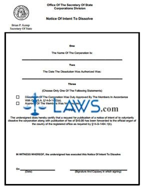 Form CD 525 Non-Profit Corporation Notice Intent to Dissolve