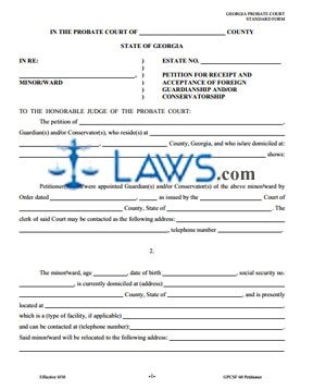 Form Petition for Receipt and Acceptance of Foreign Guardianship