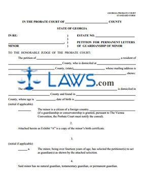 Form Petition for Letters of Permanent Guardianship of Minor