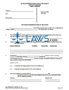 Petition for Modification of Visitation - Georgia Forms ...