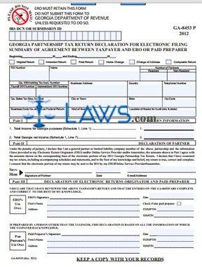 Form GA-8453P Partneship Income Tax Declaration fof Filing