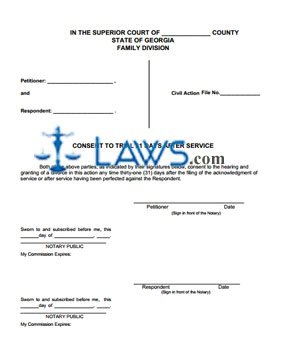 Form Consent to Trial 31 Days After Service