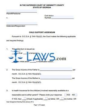 Form Child Support Addendum