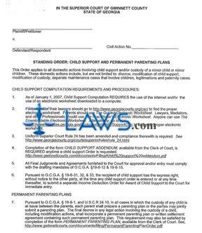 Form Standing Order Child Support Computation Procedures