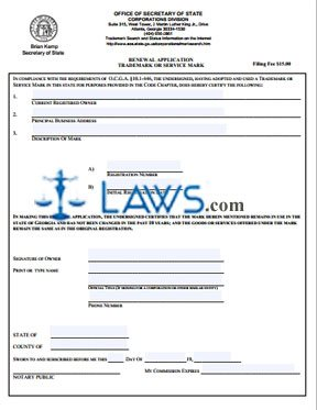 Renewal Application for Trademark or Service Mark