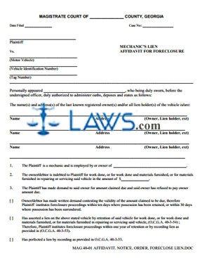 Affidavit. notice. order. foreclose Lien