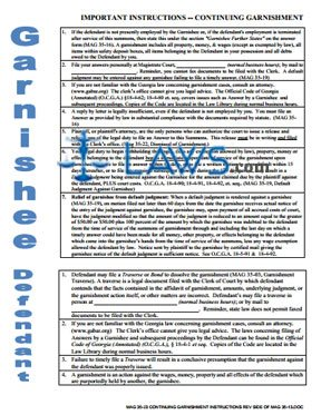 ontinuing garnishment instructions rev side of mag 35-13