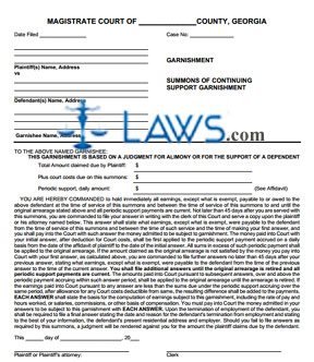 summons of continuing support garnishment