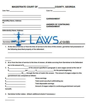 answer of continuing garnishment