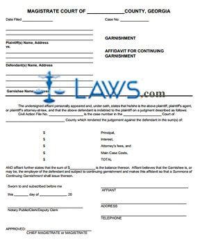 affidavit for continuing garnishment