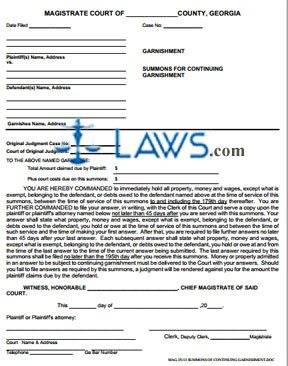 summons of continuing garnishment