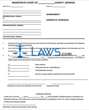 answer of garnishment