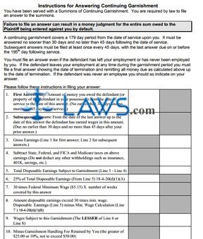 instructions for answering continuing garnishment