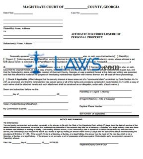 affidavit of foreclosure (personal property)