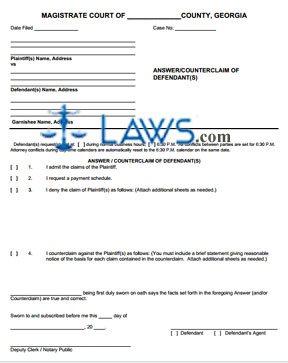 answer counterclaim of defendant