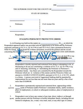 Stalking Permanent Protective Order