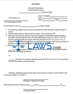 Parental Notification of Abortion Petition