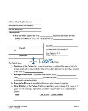 Form CAO D1-5 Complaint for Divorce