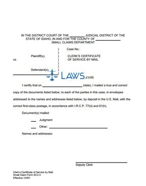 Certificate of Service by Mail SC 2-3 - Idaho Forms - | Laws.com