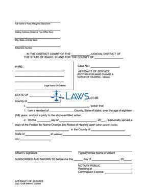 Affidavit of Service (Other Parent-Multiple Minors) CAO 12-5B