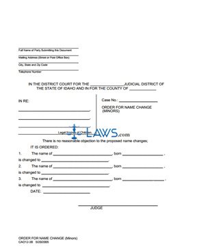 Order for Name Change (Multiple Minors) CAO 12-3B