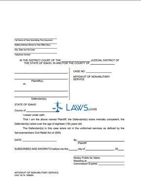 Affidavit of Non-Military Service (Landlord) CAO 16-7A