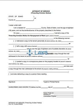 Affidavit of Service of Three Day Notice CAO 16-2