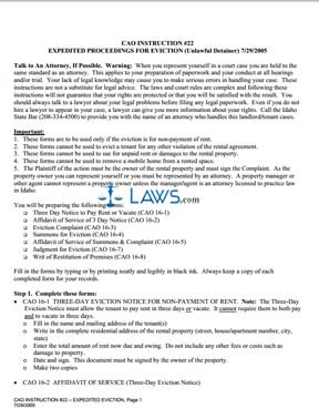 Expedited Proceedings for Eviction CAO Inst 22