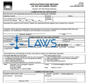 Form DR-462 Application for Refund of Ad Valorem Taxes - Property ...