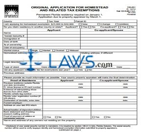 Form DR-501 Originial Application for Homestead and Related Tax ...