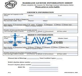 Form Marriage License Worksheet